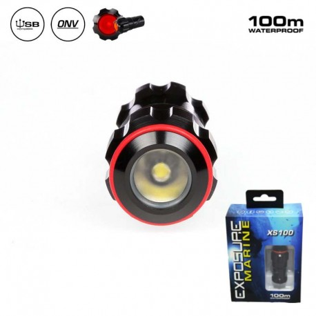 Mini waterproof RED LED flashlight - Exposure Marine XS100-R
